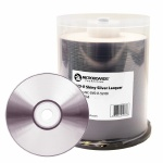 Microboards Shiny Silver Lacquer DVD-R, 16X, Clear Hub, 600 Count Box