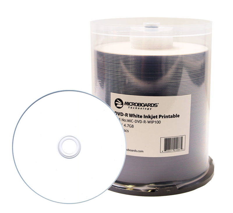 picture regarding Printable Dvd-r titled Microboards White Inkjet DVD-R, 16X, Hub Printable, 600 Rely Box