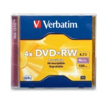 Verbatim 4X DVD+RW, Jewel Case, 50 per Box