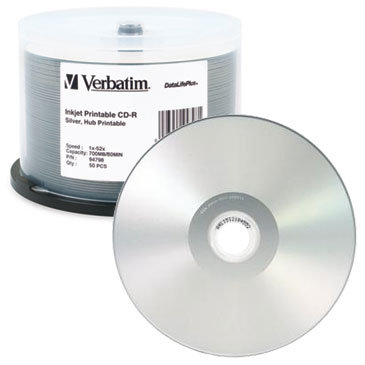graphic regarding Printable Cd R identify Verbatim DataLifePlus Silver Inkjet Hub Printable 52X CD-R, 200 for every Box