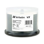 Verbatim VX White Thermal Hub Printable 16X DVD-R, 200 per Box
